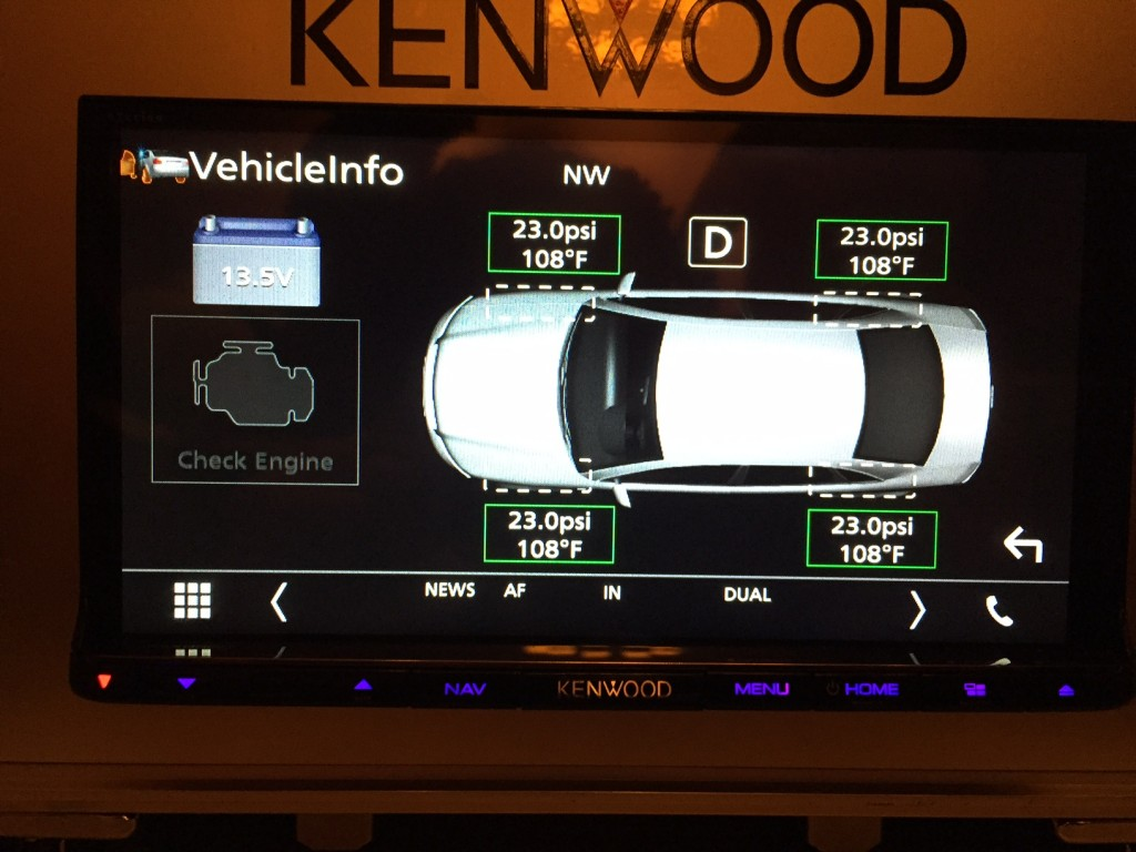 Kenwood DNX893S Tire Temp