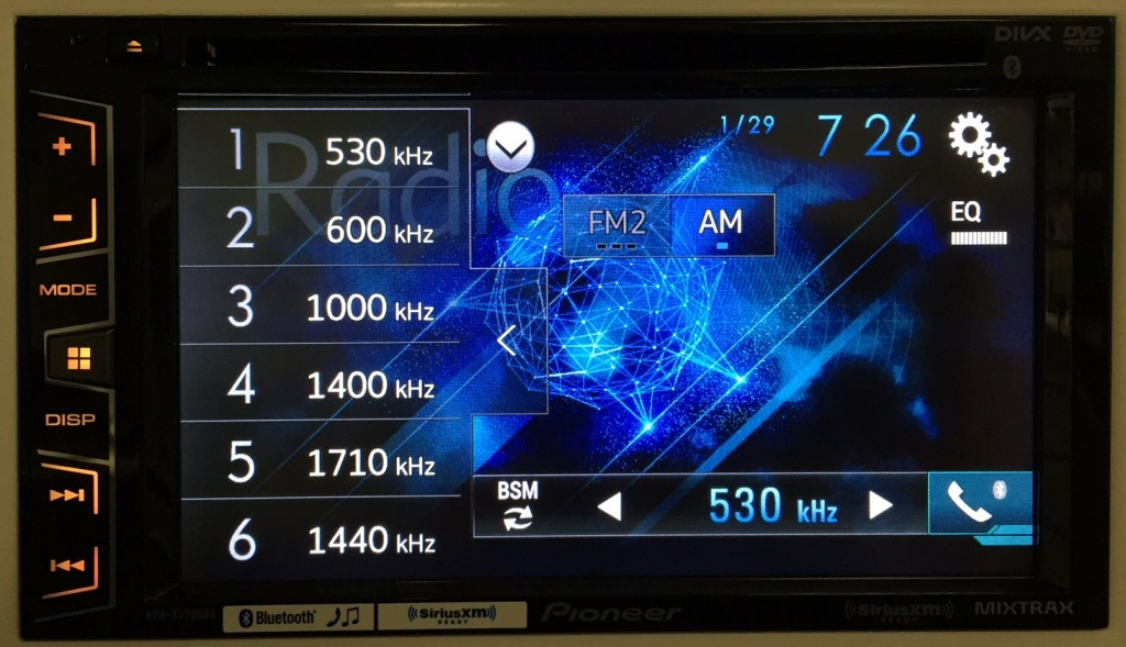 Pioneer Double Din AVH-X2700BS display customized in a colorful and flashy way.