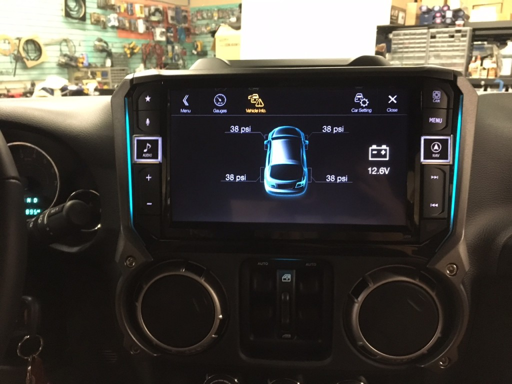 Alpine i209-WRA installed displaying vehicle info screen at Sounds Incredible Mobile, Brookfield, CT